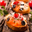 Fresh bruschettas — Stock Photo