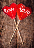 Red love lolly pops — Stock Photo