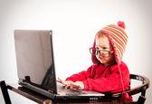 Little baby hacker — Stockfoto