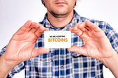 Bitcoins accepting — Stock Photo