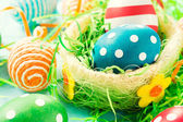 Creative eggs in basket — Foto Stock