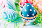 Colorful and dotted eggs — Stock Photo