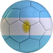 Football ball with Argentinean flag — Stock Photo