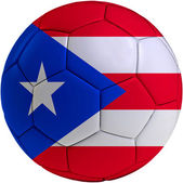 Football ball with Puerto Rican flag — Stock Photo