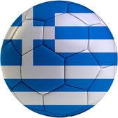Football ball with Greece flag — Stock Photo
