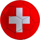 Football ball with Swiss flag — Stock Photo