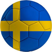 Football ball with Swedish flag — Stock Photo