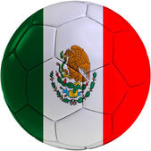 Football ball with Mexican flag — Stockfoto