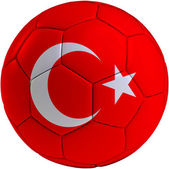 Football ball with Turkish flag — Stockfoto
