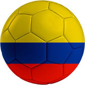 Football ball with Columbian flag — Stock Photo