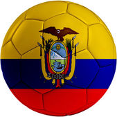 Football ball with Ecuador flag — Stock Photo