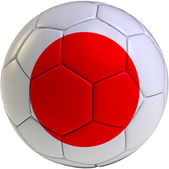 Football ball with Japan flag — Stockfoto