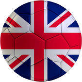 Football ball with United Kingdom flag — Stock Photo