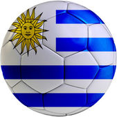 Football ball with Uruguayan flag — Stock Photo