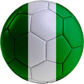 Football ball with Nigerian flag — Stock Photo