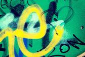 Groene metalen wand graffiti — Stockfoto