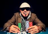 Happy poker face — Stock Photo