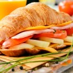 Постер, плакат: Big croissant sandwich