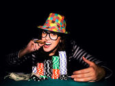 Female on poker game — Stock Photo