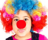 Child with clown wig — Stock Photo