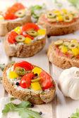 Vegetarian bruschettas — Stock Photo