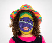 Happy Brazilian child fan — Stock Photo