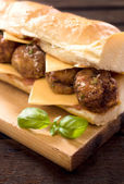 Big sandwich with meatballs — Stock Photo