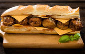 Big and juicy meatball sandwich — Stock Photo