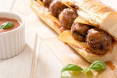 Meatball in sandwich — Stock Photo