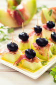 Appetizer with prosciutto,melon and olives — Stock Photo