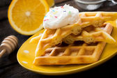 Waffles in the plate — Stock Photo