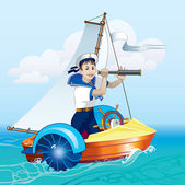 Boy with a telescope in the boat — Stock Vector