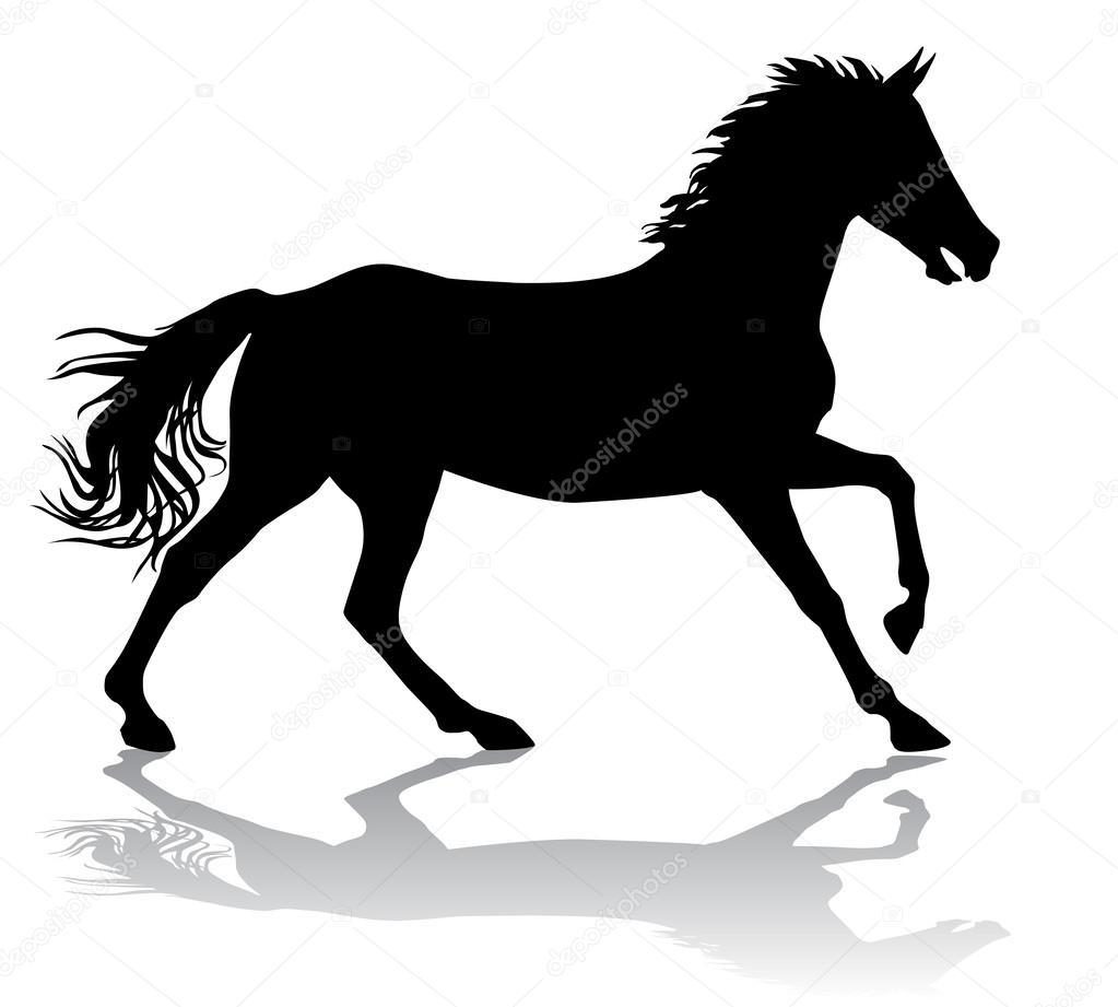 一匹马得快,驰骋在白色背景上的矢量插图剪影