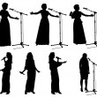 Girls with microphone2 — Imagen vectorial