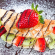 Pancake with fruits — Stock Photo
