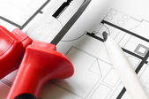 Hulpmiddelen van de bouw-plan — Stockfoto