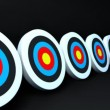 Many arrows hit to the targets with dark background — Stock Video