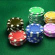 Casino 6 of chips green table - Stock Photo