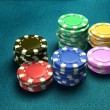 Casino 6 of chips blue table 2 - Stock Photo