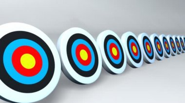 Many arrows hit to the targets with white background — Vidéo