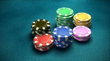 Casino 6 of chips blue table 2 — Stock Video