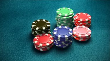 Casino 6 of chips blue table — Stock Video