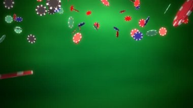 Casino chips dropping green background — Stock Video
