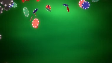 Casino chips dropping with green background — Stock Video