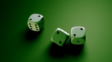 Dice rolling with green background — Stock Video