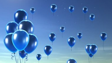 Blue Balloon up to blue sky — Stock Video