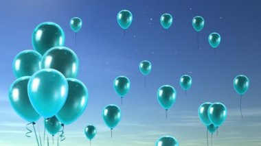 Cyan Balloon up to blue sky — Stock Video