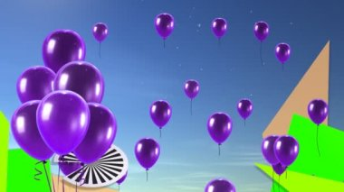 Purple Balloon up with graphic background — Stock Video