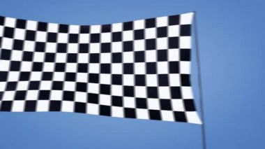 Checkered flag moving with blue sky background — Stock Video