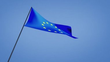 Euro flags low angle — Stock Video